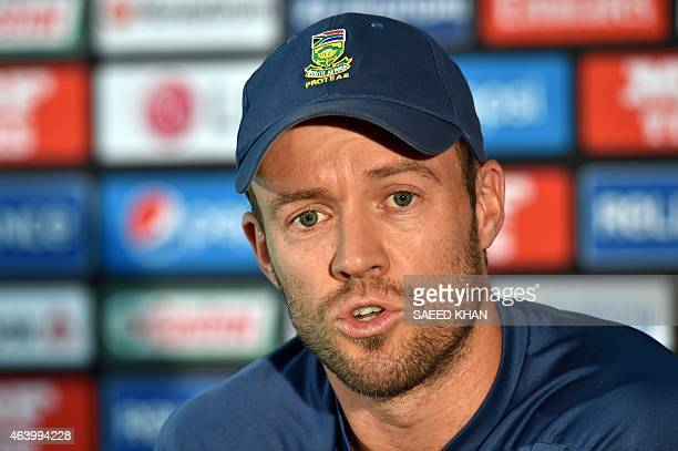 South Africa's captain AB de Villiers speaks during a press conference at the Melbourne Cricket Ground on February 21 ahead of their 2015 Cricket...
