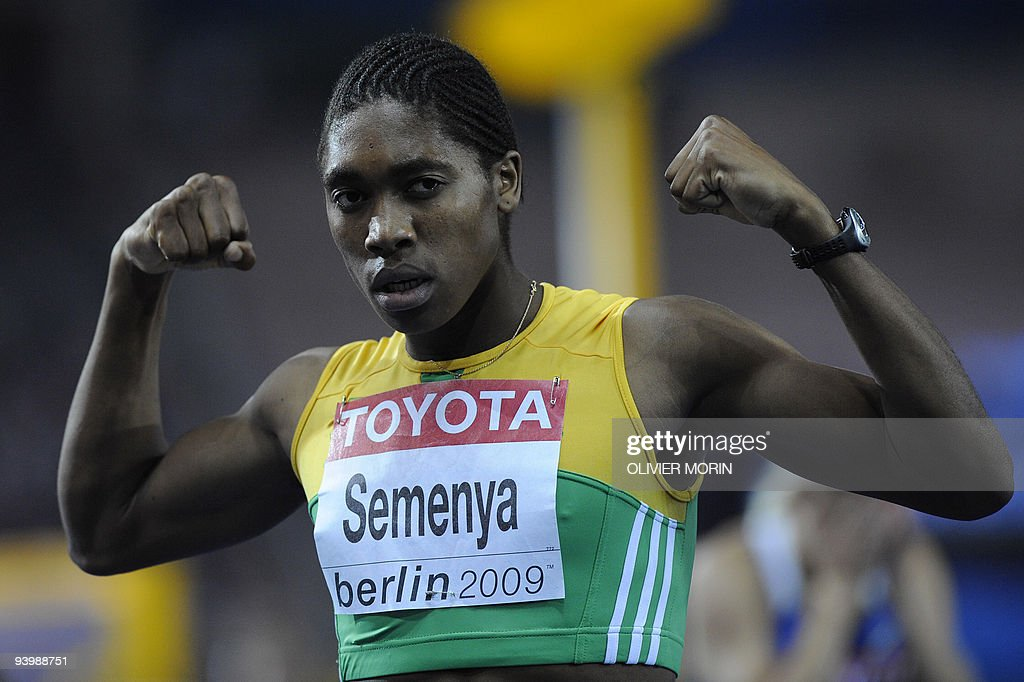 South Africa's Caster Semenya celebrates after winning the women's 800m final race of the 2009 IAAF Athletics World Championships on August 19, 2009 in Berlin.