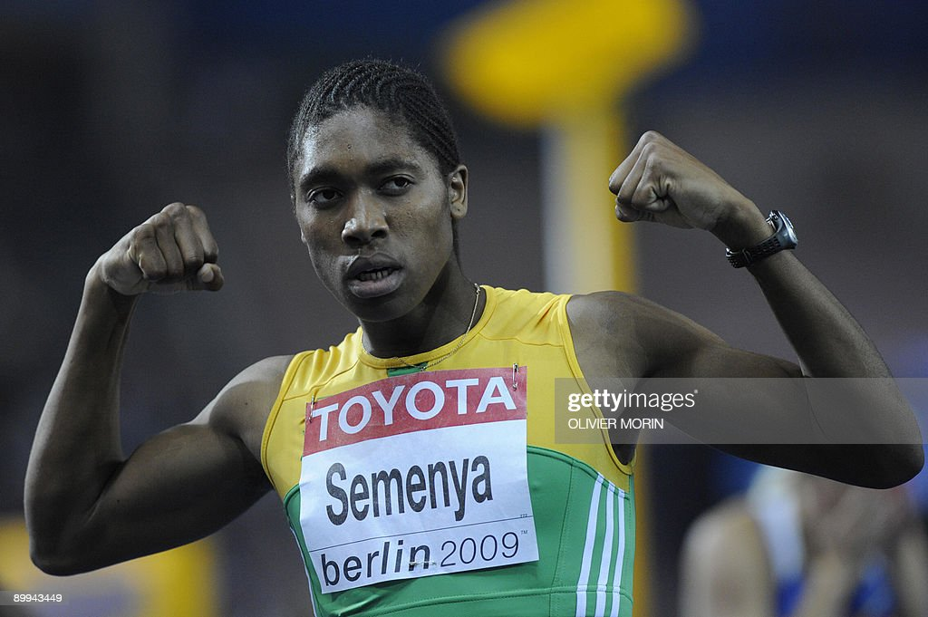 South Africa's Caster Semenya celebrates winning the women's 800m final race of the 2009 IAAF Athletics World Championships on August 19, 2009 in Berlin.