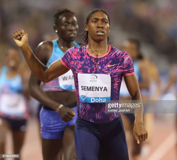 South Africa's Caster Semenya gestures after winning the women's 800 metres during the Diamond League athletics competition at the Suhaim bin Hamad...