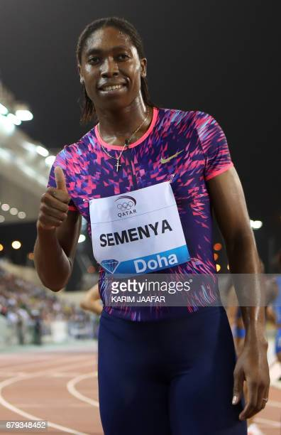 South Africa's Caster Semenya gives the thumbs up after winning the women's 800 metres during the Diamond League athletics competition at the Suhaim...
