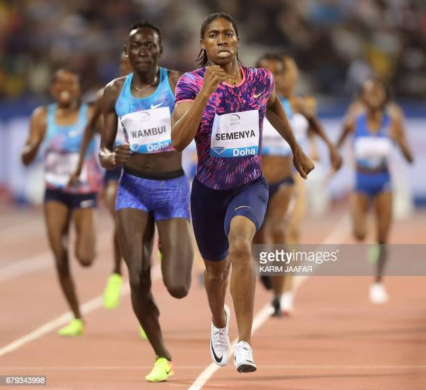 South Africa's Caster Semenya leads the women's 800 metres during the Diamond League athletics competition at the Suhaim bin Hamad Stadium in Doha on...