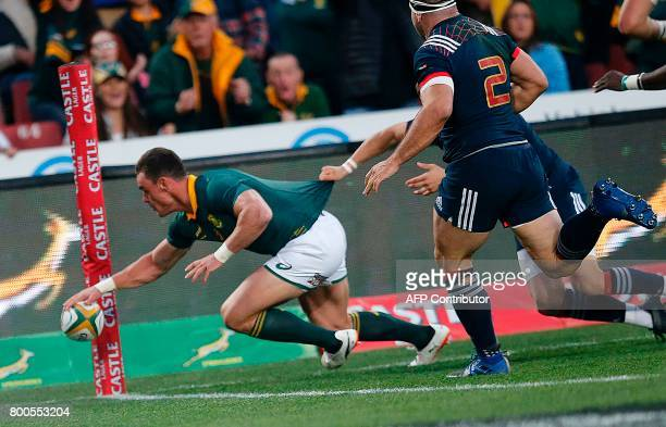 South Africa's centre Jesse Kriel scores a try during the third rugby union Test match between South Africa and France at The Emirates Ellis Park...
