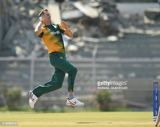 South Africa's Chris Morris bowls during a warm up match against Mumbai XI during the World T20 cricket tournament at the Brabourne stadium in Mumbai...