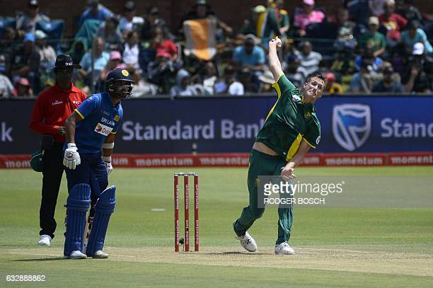 South Africa's Chris Morris bowls during the One Day International cricket match between Sri Lanka and South Africa at St George's Park in Port...