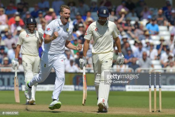 South Africa's Chris Morris celebrates taking the wicket of England's Alastair Cook on the fourth day of the second Test match between England and...