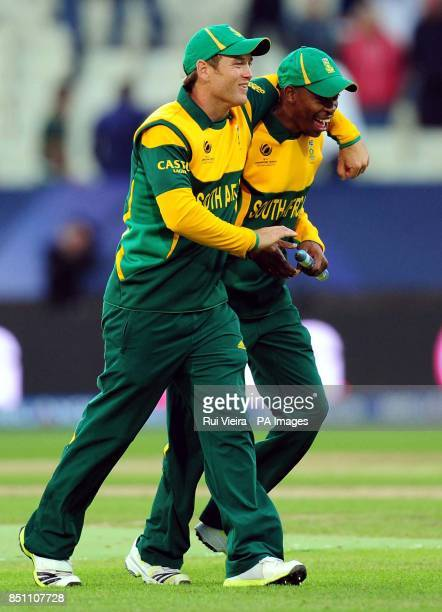 South Africa's Colin Ingram and Aaron Phangiso during the ICC Champions Trophy match at Edgbaston Birmingham