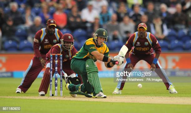 South Africa's Colin Ingram plays a sweep shot during the ICC Champions Trophy match at The SWALEC Stadium Cardiff
