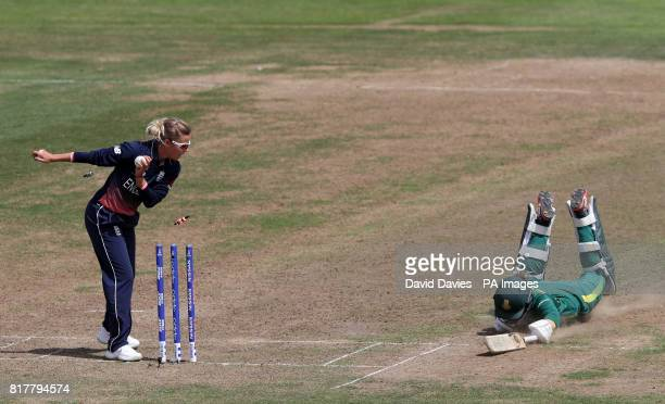 South Africa's Dane van Niekerk is run out by England's Alex Hartley during the ICC Women's World Cup Semi Final match at The County Ground Bristol