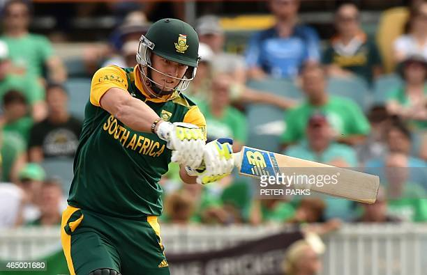 South Africa's David Miller bats during the 2015 Cricket World Cup Pool B match between Ireland and South Africa in Canberra on March 3 2015 AFP...