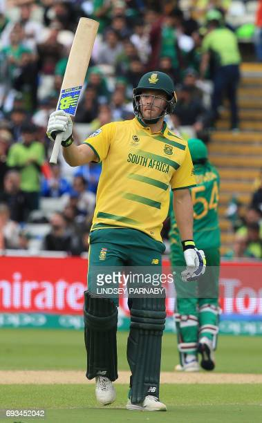 South Africa's David Miller celebrates his halfcentury during the ICC Champions trophy match between Pakistan and South Africa at Edgbaston in...