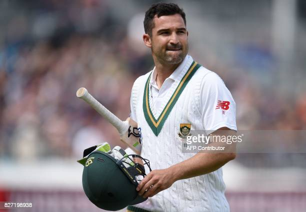 South Africa's Dean Elgar walks back to the pavilion after losing his wicket for one run on day 4 of the fourth Test match between England and South...