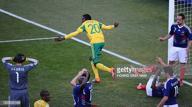 South Africa's defender Bongani Khumalo celebrates after scsoring the opening goal during the Group A first round 2010 World Cup football match...