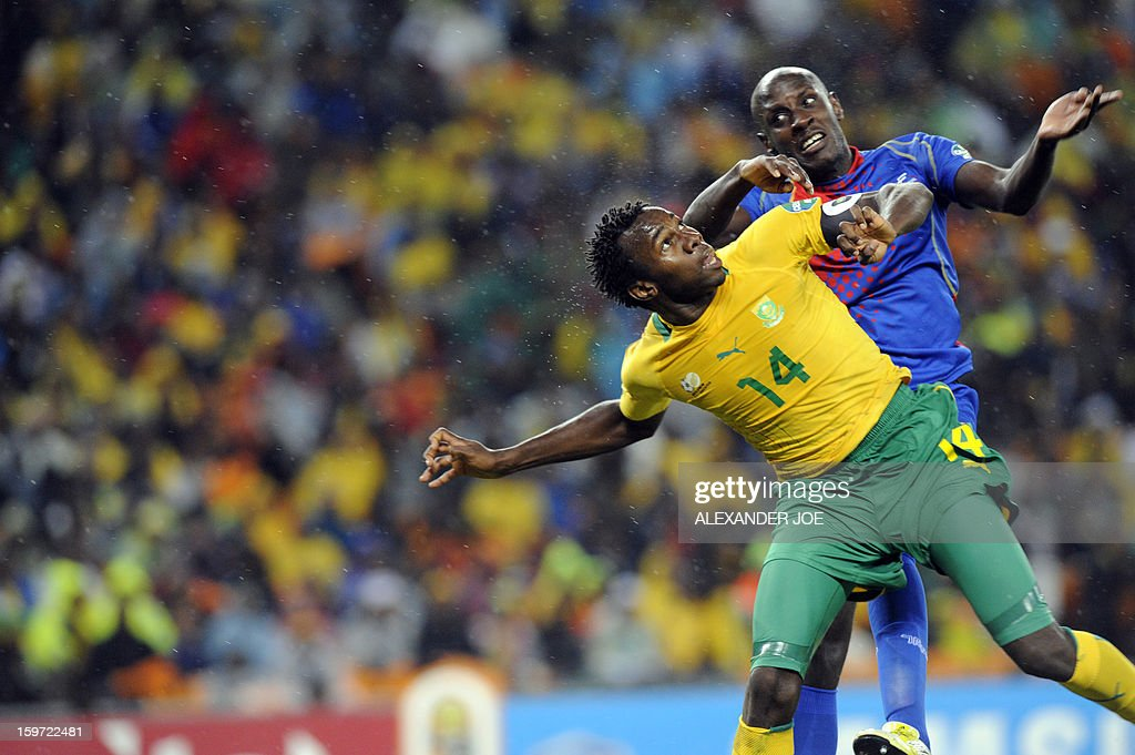 South Africa's defender Bongani Khumalo tries to head the ball by Cape Verde's forward Julio Tavares during a group A football match at the 2013 African Cup of Nations in Soweto on January 19, 2013 at Soccer City.