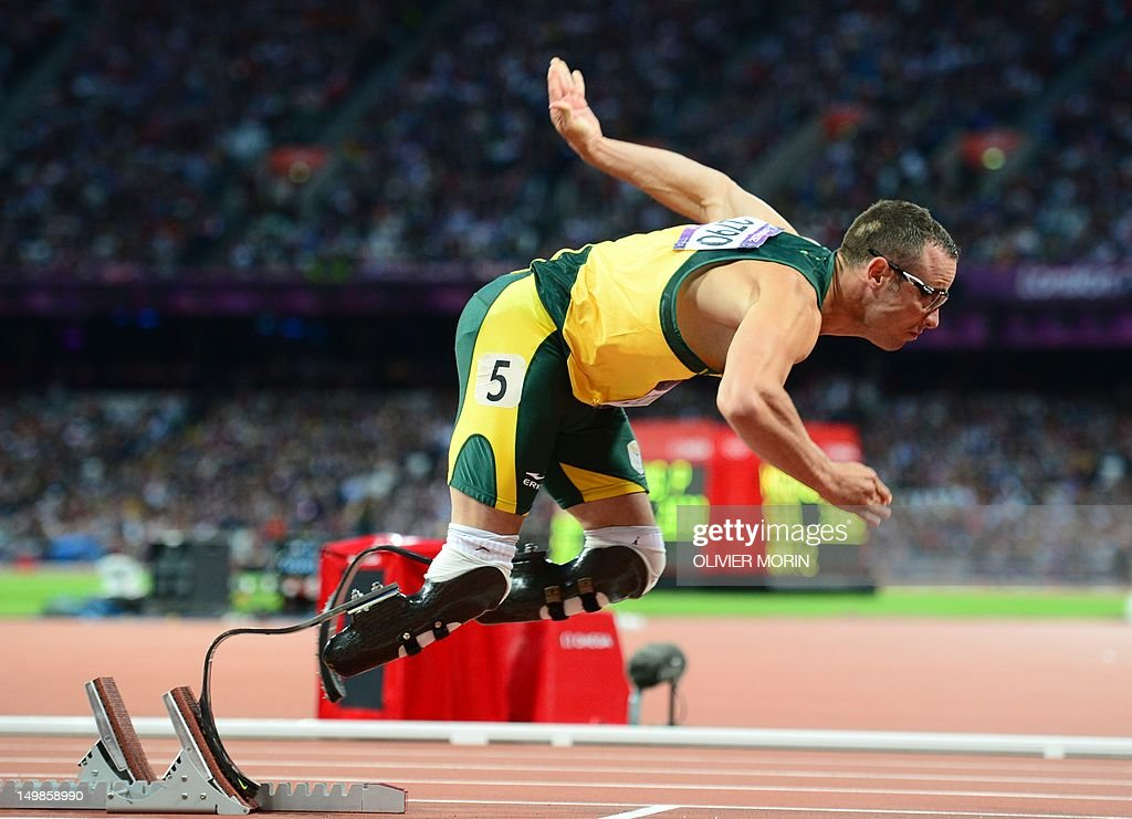 South Africa's double amputee runner Oscar Pistorius competes in the men's 400m semi-finals at the athletics event during the London 2012 Olympic Games on August 5, 2012 in London. AFP PHOTO / OLIVIER MORIN