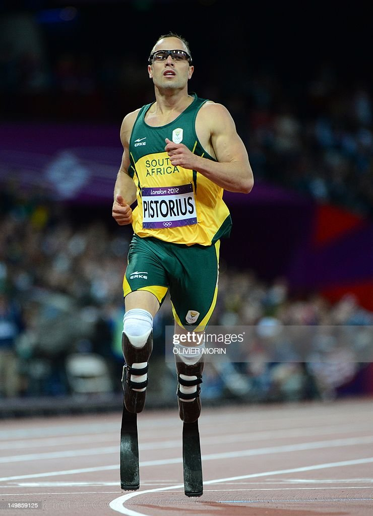South Africa's double amputee runner Oscar Pistorius competes in the men's 400m semi-finals at the athletics event during the London 2012 Olympic Games on August 5, 2012 in London.