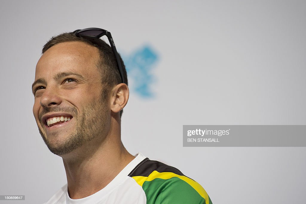 South Africa's double amputee runner Oscar Pistorius speaks during a press conference ahead of the London 2012 Paralympic Games in the Olympic park in east London on August 28, 2012. AFP PHOTO / BEN STANSALL