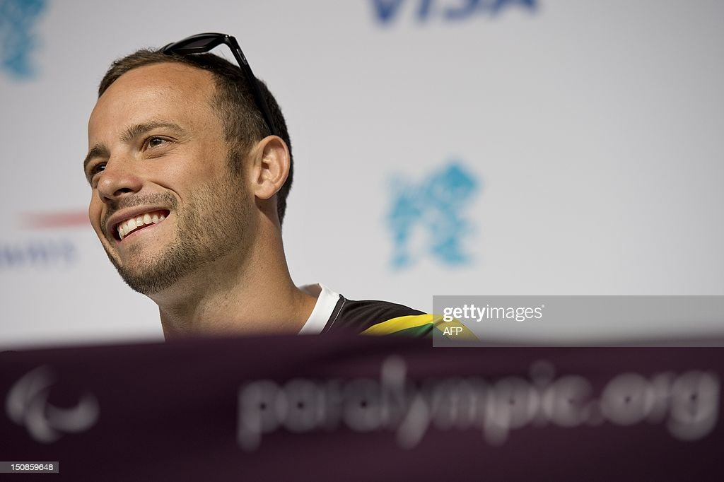 South Africa's double amputee runner Oscar Pistorius speaks during a press conference ahead of the London 2012 Paralympic Games in the Olympic park in east London on August 28, 2012.