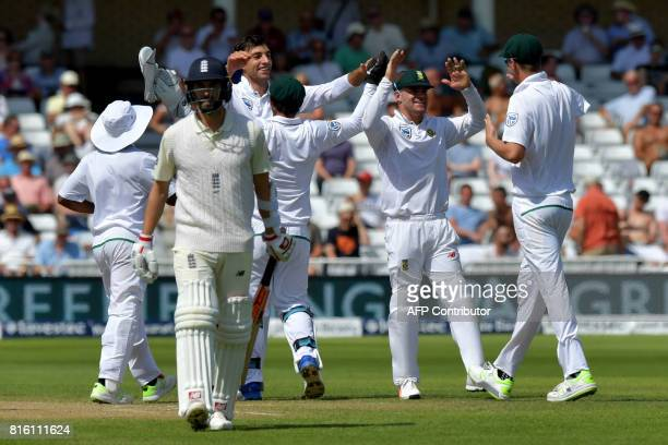 South Africa's Duanne Olivier celebrates taking the wicket of England's Mark Wood with the first ball on the fourth day of the second Test match...