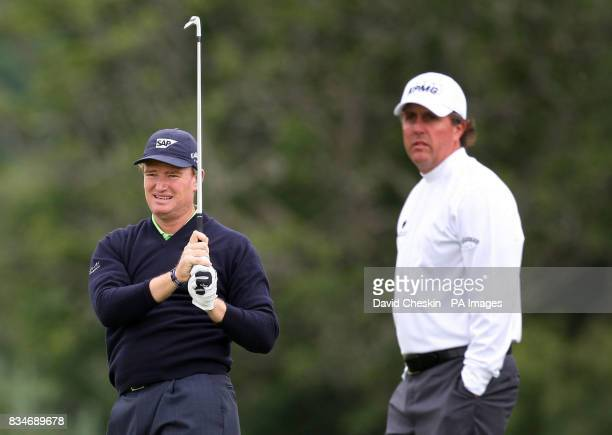 South Africa's Ernie Els and USA's Phil Mickelson during The Barclays Scottish Open at Loch Lomond Glasgow