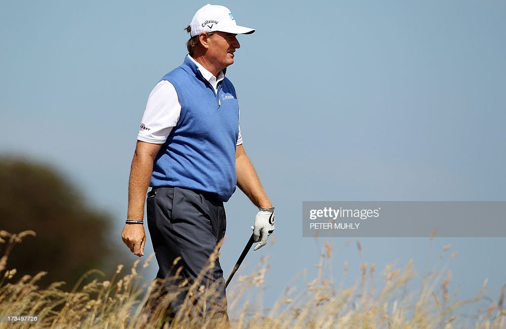 South Africa's Ernie Els walks to the seventh tee at Muirfield golf course at Gullane in Scotland on July 15, 2013 ahead of The 2013 Open Golf Championship. AFP PHOTO/Peter MUHLY