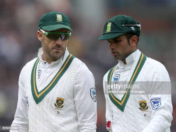 South Africa's Faf du Plessis and Keshav Maharaj during the Fourth Investec Test at Emirates Old Trafford Manchester