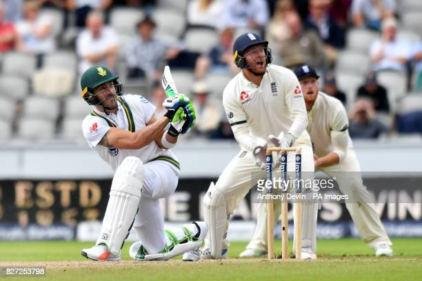 South Africa's Faf du Plessis bats during day four of the Fourth Investec Test at Emirates Old Trafford Manchester