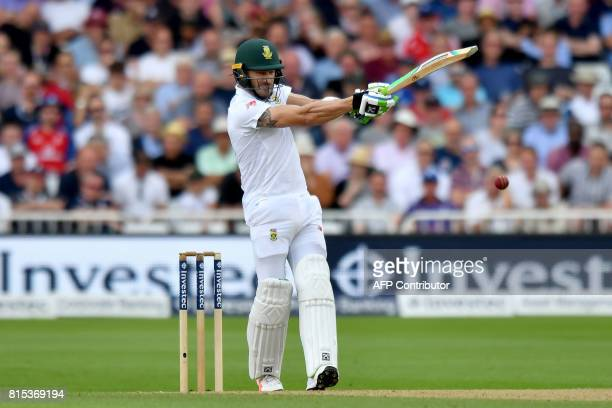South Africa's Faf du Plessis bats on the third day of the second Test match between England and South Africa at Trent Bridge cricket ground in...