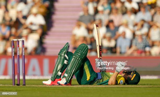 South Africa's Farhaan Behardien after being struck by a ball during the1st NatWest T20 Blast match at the Ageas Bowl Southampton