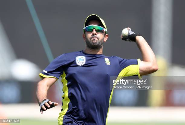 South Africa's Farhaan Behardien during a nets session at The Ageas Bowl Southampton