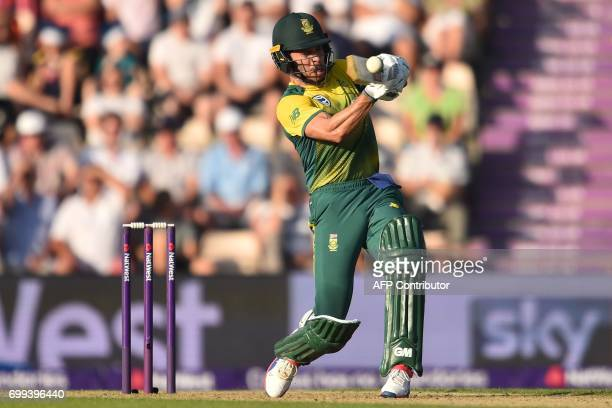 South Africa's Farhaan Behardien hits a six during the T20 international cricket match between England and South Africa at The Ageas Bowl in...