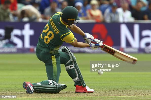 South Africa's Farhaan Behardien plays a shot during the third Twenty20 international cricket match between England and South Africa at Sophia...