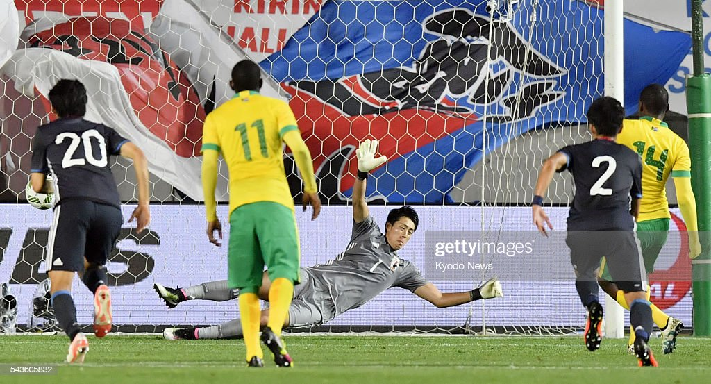 South Africa's Gift Motupa (14) scores the opener during the first half of an Under-23 friendly against Japan in the central Japan city of Matsumoto on June 29, 2016.