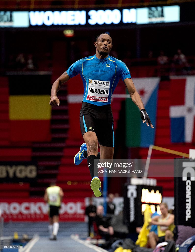 South Africa's Godfrey Mokoena competes in the men's long jump event during the XL Galan Stockholm Indoor Athletics meeting on February 21, 2013 at the Ericsson Globe Arena in Stockholm.