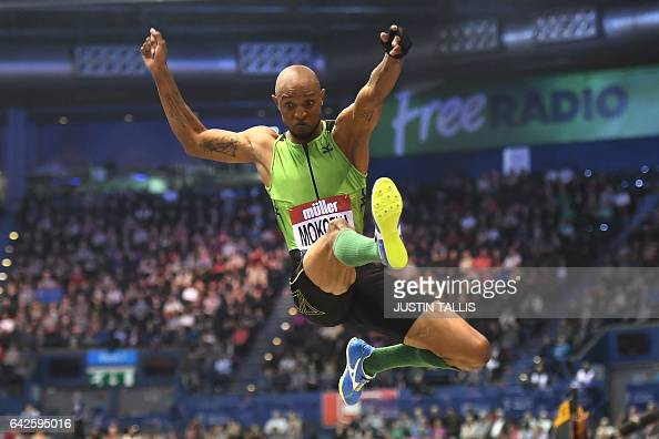 TOPSHOT South Africa's Godfrey Mokoena wins the Men's Long jump during the Indoor athletics Grand Prix at the Barclaycard Arena in Birmingham on...