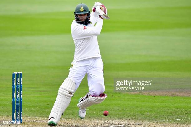 South Africa's Hashim Amla bats during day three of the first international cricket test match between New Zealand and South Africa at the University...