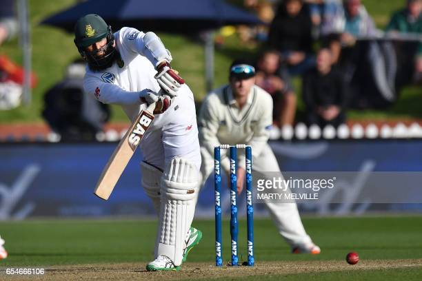 South Africa's Hashim Amla bats during day three of the second Test cricket match between New Zealand and South Africa at the Basin Reserve in...