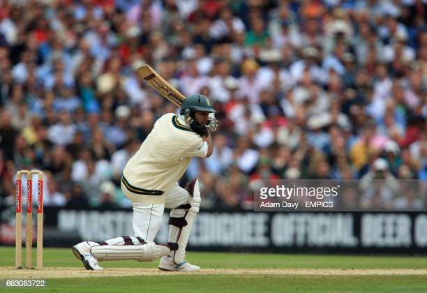 South Africa's Hashim Amla cuts the ball away for four runs