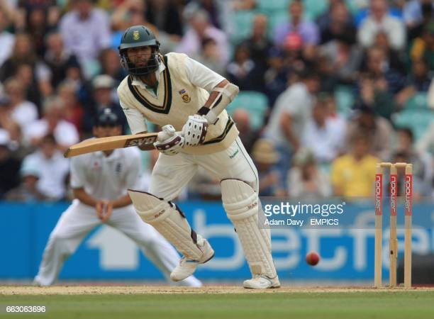 South Africa's Hashim Amla hits the ball for four runs