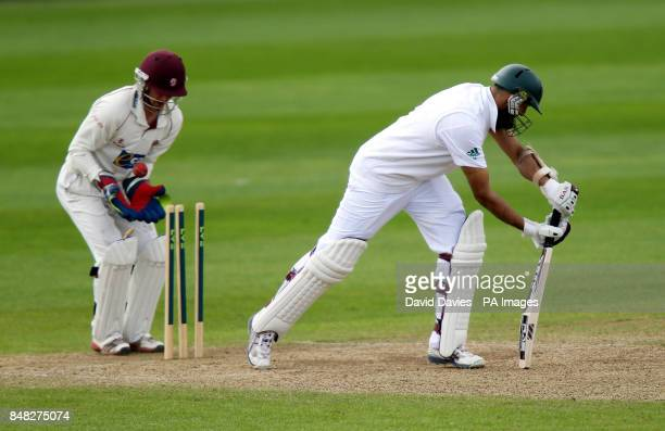 South Africa's Hashim Amla is bowled by Somerset's Jack Leach of for 64 during the tour match at The County Ground Taunton