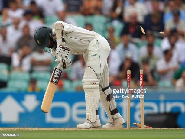 South Africa's Hashim Amla is clean bowled by England's Steve Harmison