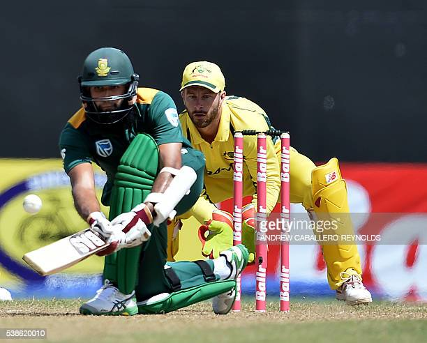 South Africa's Hashim Amla plays a shot during a Oneday International cricket match between South Africa and Australia in the TriNation Series in...