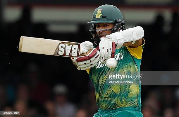 South Africa's Hashim Amla plays a shot during the third OneDay International cricket match between England and South Africa at Lord's Cricket Ground...