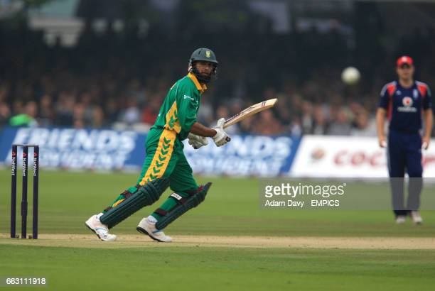 South Africa's Hashim Amla watches the ball go for four runs