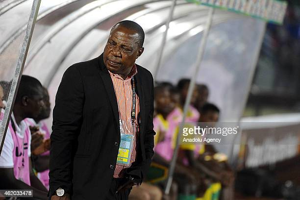 South Africa's head coach Ephraim Mashaba during the 2015 African Cup of Nations Group C football match between South Africa and Senegal at Mongomo...