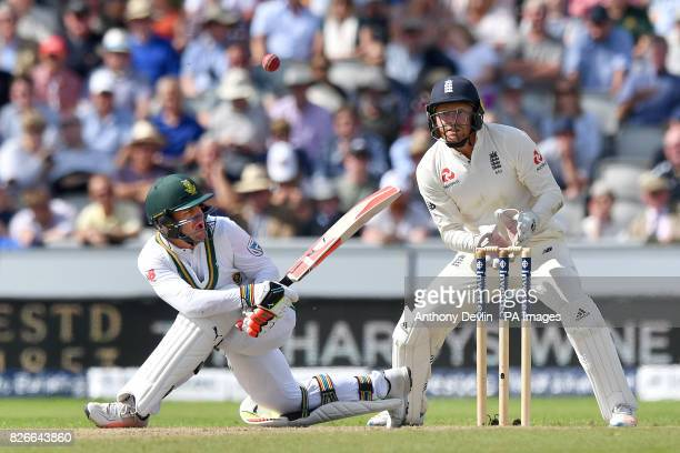 South Africa's Heino Kuhn loses his balance during day two of the Fourth Investec Test at Emirates Old Trafford Manchester