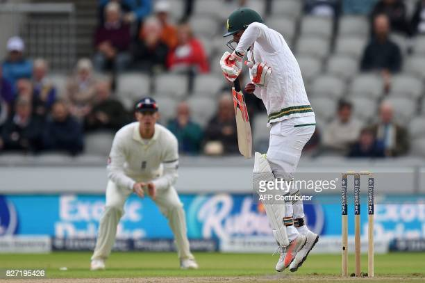 South Africa's Heino Kuhn plays a shot on day 4 of the fourth Test match between England and South Africa at Old Trafford cricket ground in...