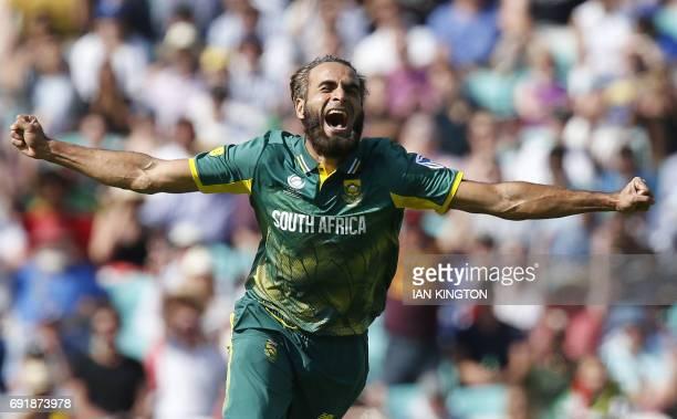 TOPSHOT South Africas Imran Tahir celebrates taking the wicket of Sri Lankas Chamara Kapugedera for a duck during the ICC Champions Trophy match...