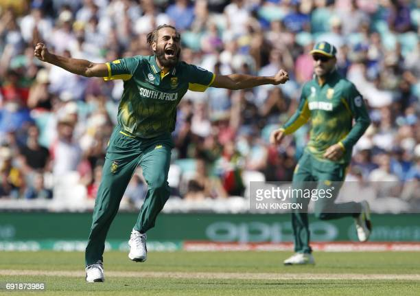 South Africas Imran Tahir celebrates taking the wicket of Sri Lankas Chamara Kapugedera for a duck during the ICC Champions Trophy match between...