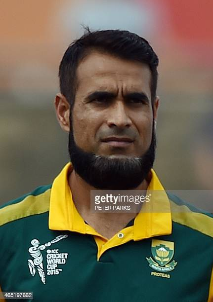South Africa's Imran Tahir is pictured during the 2015 Cricket World Cup at the Manuka Oval in Canberra on March 3 2015 AFP PHOTO / Peter PARKS IMAGE...